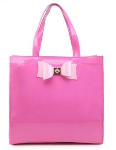 Extra Large Patent Shopper Bag with Bow Decoration - PINK - Reduced to £14 at The Handbag Hut