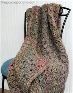Rope edging, free pattern by Carolyn of The Purple Poncho.  Throw pattern is Corner to Corner, a free pattern from Red Heart (pattern link on page)  . . . .   ღTrish W ~ http://www.pinterest.com/trishw/  . . . .   #crochet #afghan #blanket