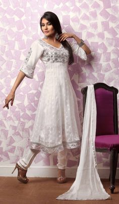 White Faux Georgette Indian Fashion Salwar Kameez
