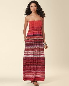 Soma Intimates Braided Bandeau Maxi Dress Sumptuous Stripe Ruby #somaintimates