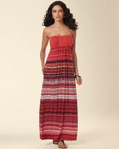 Soma Intimates Braided Bandeau Maxi Dress Sumptuous Stripe Ruby #somaintimates