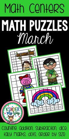 This March Math Puzzles Packet contains 30 math puzzles for a fun, engaging center activity. These puzzles are great for early finishers, independent center activity, small group center or morning activity. All puzzles based on March themes: Spring, Bugs, St. Patrick's Day Skills reviewed are: Numbers 1-8, 1-10, 1-12 Addition Counting by 5's and 10's Tally Marks Dice Dot counting Subtraction Ordering from smallest to largest