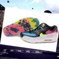 the best attitude c1e3c 28d2f CPGD397 Herre Nike Air Max 90 running Sko Sort Blå Pink Gul Farve  LJleL