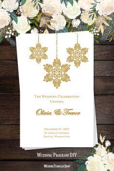 Winter Snowflakes Wedding Program, Gold, DIY Printable Order of Service Templates.