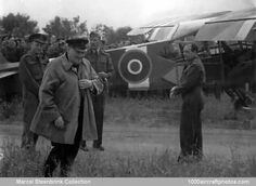 Winston Churchill, just after he left the captured Fieseler Storch (here in RAF markings) at Sainte-Croix-sur-Mer.