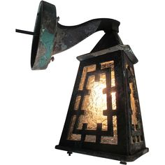 Arts & Crafts Wall Lamp Sconce Asian inspired Indoor Outdoor Bronze Light 19th C