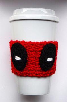 Ravelry: Deadpool Coffee Cup Cozy pattern by The Enchanted Ladybug Crochet Coffee Cozy, Coffee Cup Cozy, Crochet Cozy, Crochet Gratis, Free Crochet, Coffee Cozy Pattern, Coffee Sleeve, Geek Crafts, Halloween Crochet
