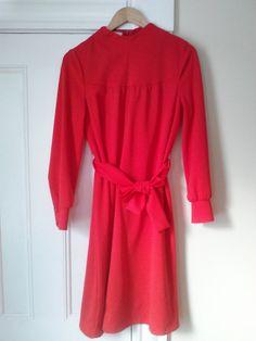 60's Vintage Red Tie Waist Dress / Women's by JulesCristenVintage
