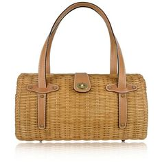 Forzieri Capaf Line Light Brown Wicker and Leather Barrel Bag ($534) ❤ liked on Polyvore
