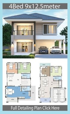 12 Duplex House Design with Floor Plan Duplex House Design with Floor Plan. 12 Duplex House Design with Floor Plan. Home Design Plan with 3 Bedrooms Modern House Floor Plans, Simple House Plans, Simple House Design, Minimalist House Design, Modern House Design, My House Plans, Two Storey House Plans, Bungalow Floor Plans, 2 Storey House Design
