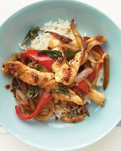 Chicken and Basil Stir-Fry - Martha Stewart Recipes #chicken (includes video too...sweet!)