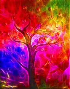 A rainbow tree in full bloom. Colors Of The World, Taste The Rainbow, Over The Rainbow, Rainbow Colors, Vibrant Colors, Rainbow Art, Art Fractal, Art Texture, Color Of Life