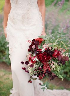 red wedding bouquet with berries