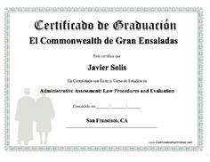 Certificado de Graduación   Escuela de Turismo de la Costa Dorada  Salou - Reus  Homologada