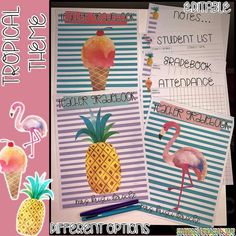 Tropical Theme Gradebook - EDITABLE- Type in your students names and their grades or hand write them! Pineapples, flamingos and ice cream cones! Perfect to insert in your happy planner!