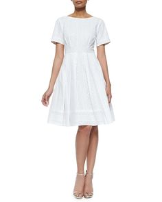 Short-Sleeve Lace-Detail Fit & Flare Dress