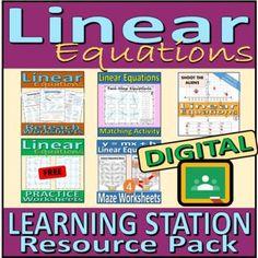 Linear Equations - DIGITAL BUNDLE - Learning Station Resource Pack