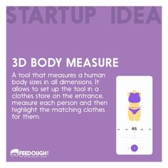 3D Body Measure: A tool that measures a human body size in all dimensions. #startupidea . . . #startup #startups #startuplife #entrepreneur #entrepreneurship #businessidea #business #sharktank #innovation #AR #augmentedReality #Tech #technology #idea #app #mobileapp Shark Tank, Body Size, Augmented Reality, Startups, Human Body, Entrepreneurship, Mobile App, Innovation, Technology