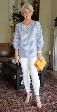 Blue and White with a pop of orange. outfits women over 40 over 50 60 Fashion, Over 50 Womens Fashion, Fashion Over 50, Fashion Outfits, Work Fashion, Casual Outfits, Cute Outfits, Spring Outfits, Blue And White