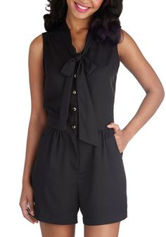 Rise and Pine Romper in Coal Black - Long, Black, Solid, Buttons, Pockets, Tie Neck, Work, Daytime Party, Sleeveless, Summer, Variation, Exclusives