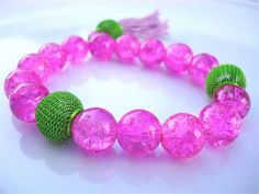 Pink Cotton Candy Chunky Bracelet  Lavender Tassel  by tocijewelry, $25.00