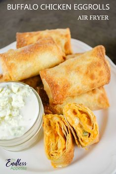 These Buffalo Chicken Egg Rolls are to die for! They taste just like buffalo chi. - Foodi/Air Fryer - These Buffalo Chicken Egg Rolls are to die for! They taste just like buffalo chicken dip and are so - Egg Rolls Baked, Chicken Egg Rolls, Chicken Spring Rolls, Chicken Eggs, Chicken Wraps, Buffalo Chicken Eggrolls, Buffalo Chicken Dips, Buffalo Chicken Dip Recipe, Poulet Sauce Buffalo
