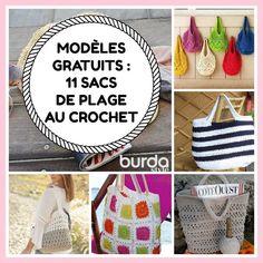 Modèles gratuits : 11 sacs de plage au crochet | Mes favoris tricot-crochet | Bloglovin' Crochet Patron, Crochet Diy, Alice, Crochet Bracelet, Straw Bag, Knitting, Couture, Patience, Montessori