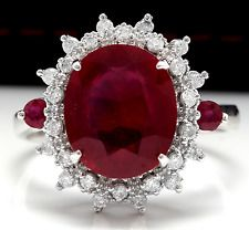 7.60 Carats Natural Red Ruby and Diamond 14K Solid White Gold Ring