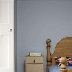Bedroom in Lulworth Blue & Wimborne White Bedroom Wall Paint Colors, Farrow And Ball Bedroom, Wimborne White, Wall Paint Colors, Interior, Wall Colors, Bedroom Wall Colors, House Interior, Blue Interior