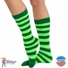 cd051507c0c Green   Neon Green Leprechaun Socks Green Stripes