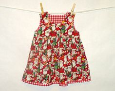 12 - 18mo Christmas Jumper, Toddler Santa Jumper, Christmas Dress, Santa Fabric, Toddler Clothes, CPSC Compliant made by The Corduroy Hippo