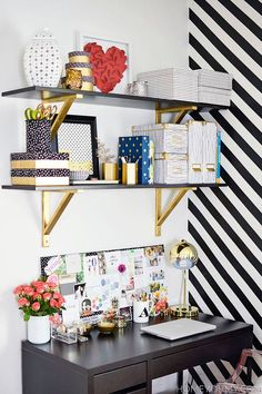 Move your storage up top for a small home office to keep the floor less cluttered #ABlissfulNest #InteriorDesign #Decorator #Stylist #Blissful #HappyHome #designtips #storage #desk #office #organize