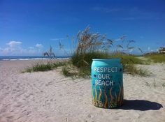 Cocoa Beach couple Bobby and Nikki Freeman hope that their initiative, Creative Cans in the Sand, will help clean up the growing trash problem on the beach. Beach Clean Up, Brevard County, Cocoa Beach, Couple Beach, Us Beaches, Arizona Tea, Drinking Tea, Bobby, Coastal