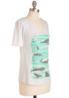 Greeted With Ocean Arms Tee. Set your sights and sails on this nautical tee by Blue Platypus and soon you'll whale-come it into your wardrobe. #green #modcloth