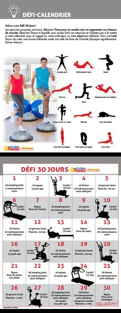 Défi Fitness - Calendrier 30 jours | Fitness Challenge - 30-day Calendar
