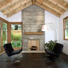 concrete fireplace surround with reclaimed wood mantel - Google Search