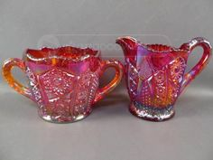 Carnival Glass Pitcher & Sugar Bowl