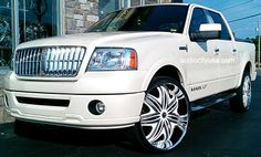 "Lincoln Mark Lt on 26"" rims - White with powder pink embroidered leather interior (a girl can dream!)"