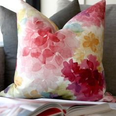 The floral pattern of this square May Flower pillow will brighten up your living space with happy spring colors. Floral Throw Pillows, Decorative Throw Pillows, Pillow Fabric, Cotton Fabric, Pillow Arrangement, Flower Pillow, American Decor, Cotton Throws, Fabric Squares