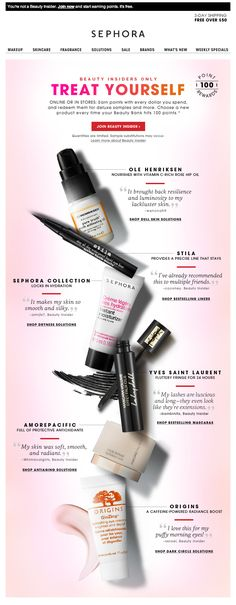 Sephora Email Newsletter Design - Beautiful Product Display Great to show what you can get for a points/rewards system balance