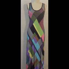 NEW Med Maxi Dress Yellow,Purple,Green,Blue,Pink New without tags. Size 10 or medium multicolored maxi Calvin Klein Dresses Maxi