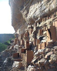 CLIFF HOUSING - DOGON TRIBE - BANDIAGARA MOUNTAINS Mali, Africa.
