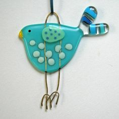 Blue Spotty Fused Glass Bird