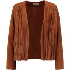 SANDRO  Victor fringed suede jacket (€295) ❤ liked on Polyvore featuring outerwear, jackets, brown fringe jacket, sandro jacket, suede fringe jacket, brown suede leather jacket and suede jacket