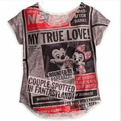 Mickey and friends tabloid tee Sold out everywhere else! Mickey, Minnie, Donald, and Daisy meet the paparazzi for this double-sided tabloid news parody tee that blazes with headlines reporting on the antics of fan-favorite Disney celebrities. Just bought at Disneyland recently, never worn, in perfect condition. Disney Tops Tees - Short Sleeve