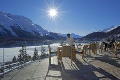 Celebrating 150 years of winter tourism in St. Moritz.Sun Terrace at the Carlton Hotel