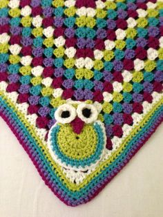 Baby Blanket with Owl Crochet @Kylin Lundvall