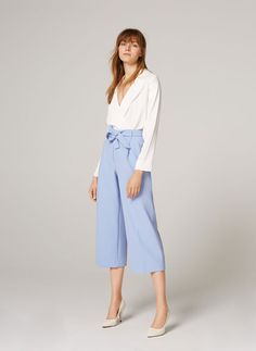 Uterqüe United Kingdom Product Page - - Culotte trousers with tie waist - 32.9