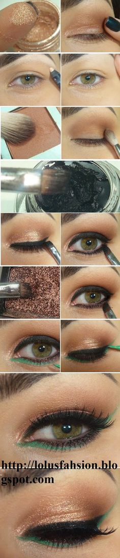 How to : Easy Green Eyeliner # Lashes Makeup Tutorials # Step by Step / Best LoLus Makeup Fashion