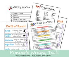 Free Printable Writing Guides: Parts of Speech, Citing Sources, Editing Marks, as well as Transitions.